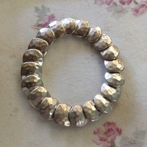 Vintage Hammered Silver Disc Stretch Bracelet